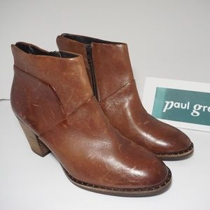 Paul Green Ankle Boots Heels Brown Leather